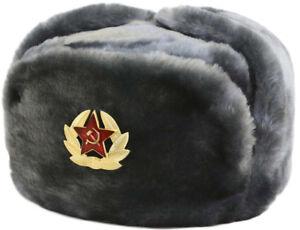 Russian-Soviet-Cossack-Trapper-Fur-Ushanka-Winter-size-61-size-XL