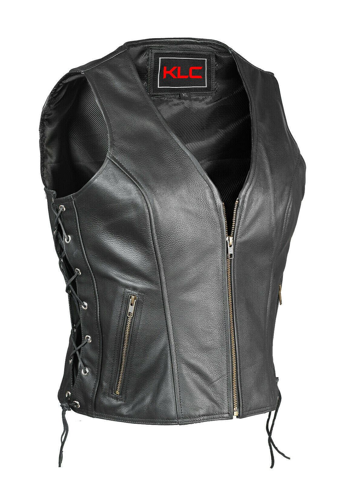 New Ladies Motorcycle Hârley Style A Grade Leather Vest with zip & Lace up sides