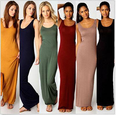 Fashion Plain Women Ladies Vest Tank Casual Maxi Long Pencil Dress slim Sundress