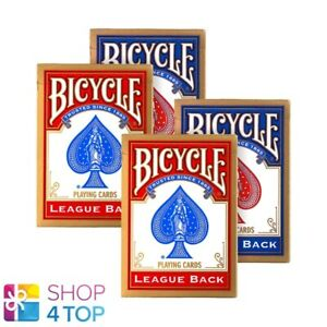 4-DECKS-BICYCLE-LEAGUE-BACK-STANDARD-INDEX-POKER-SPIELKARTEN-2-BLAU-2-ROT-NEU