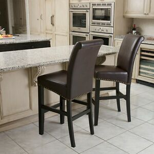 Set Of 2 Tall Back Marbled Brown Leather Bar Stools W