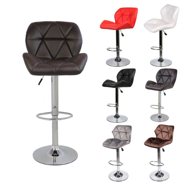 Incredible Set Of 4 Bar Stools Leather Velvet Adjustable Swivel Dining Counter Kitchen Pub Beatyapartments Chair Design Images Beatyapartmentscom