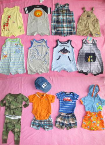 Baby Boy Lot 17 Pc Outfit Pajamas Top Shorts Swim Trunks Hat Nwt EUC 3-6 Mo 6 Mo