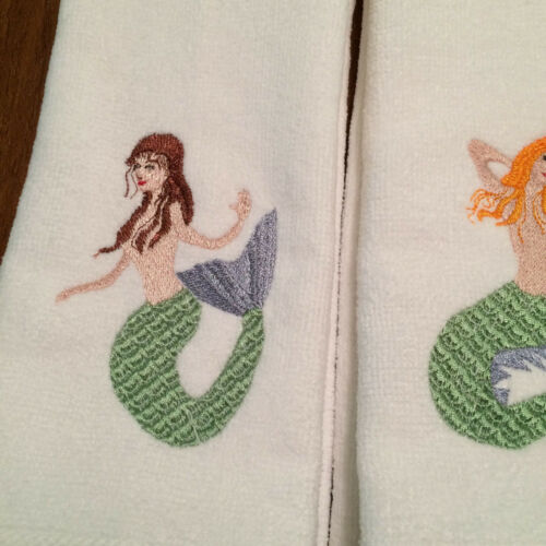 Machine Embroidered 2 Tea Towels Mermaids with Golden blond hair /& brown hair