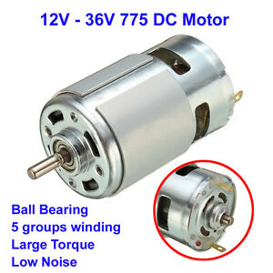 Large torque high power 775 dc motor 12v 24v 3500 9000rpm for Low noise dc motor