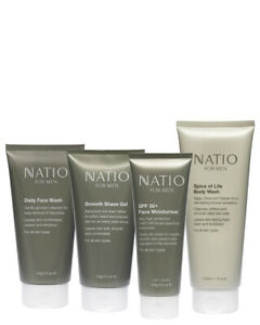 NEW Natio Natio for Men Starter Set - 4 full size products, Face & Body