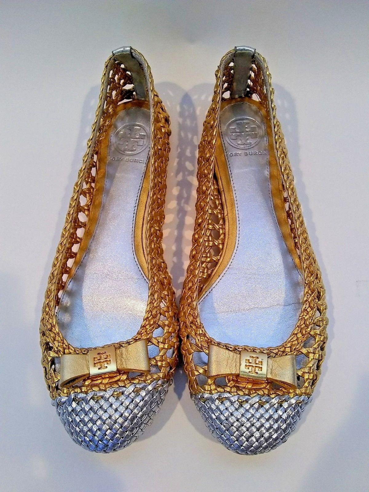 Tory Burch Carlyle Metalllic Gold Silver Woven Ballet Flats Größe 6.5M