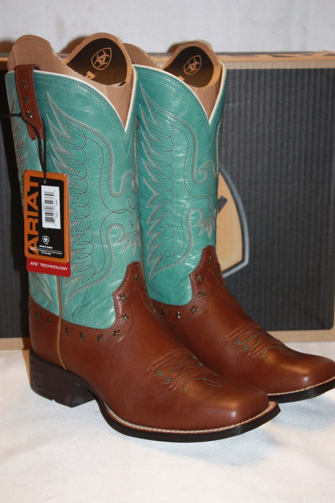 NEW! NIB! ARIAT Dark Bay Glazed Turquoise Leather HONOR Square Toe Boots $260