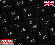 Hungarian Transparent Keyboard Stickers With White Letters Laptop PC Computer