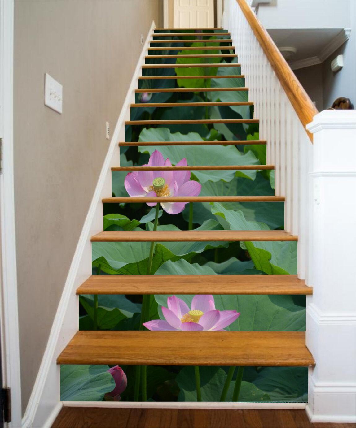 3D Seerose 404 Stair Risers Dekoration Fototapete Vinyl Aufkleber Tapete DE