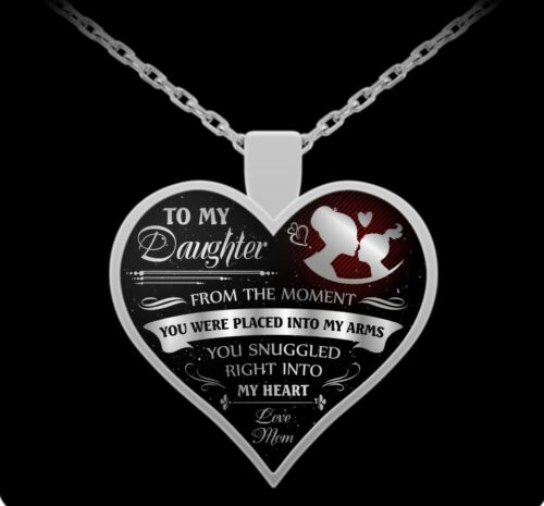 To my daughter love mom you snuggled right into my heart silver pendant necklace