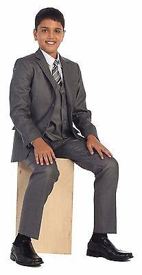 Magen Kids 5 Pc Boys Formal Gray Suit,Vest,Pant,Dress Shirt,Tie Set Size 1-18