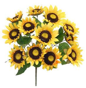 "12 Yellow Sunflowers 22"" Bush Silk Wedding Flowers Bride Bouquet Centerpieces"