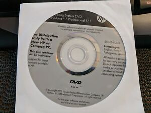 Details about HP Windows 7 Pro 64Bit OS Restore Recovery OEM DVD Disc NEW  No Product Key