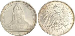 Sajonia-3-Marco-1913-E-Volkerschlachtsdenkmal-2-Vz-St-Prfr-42333