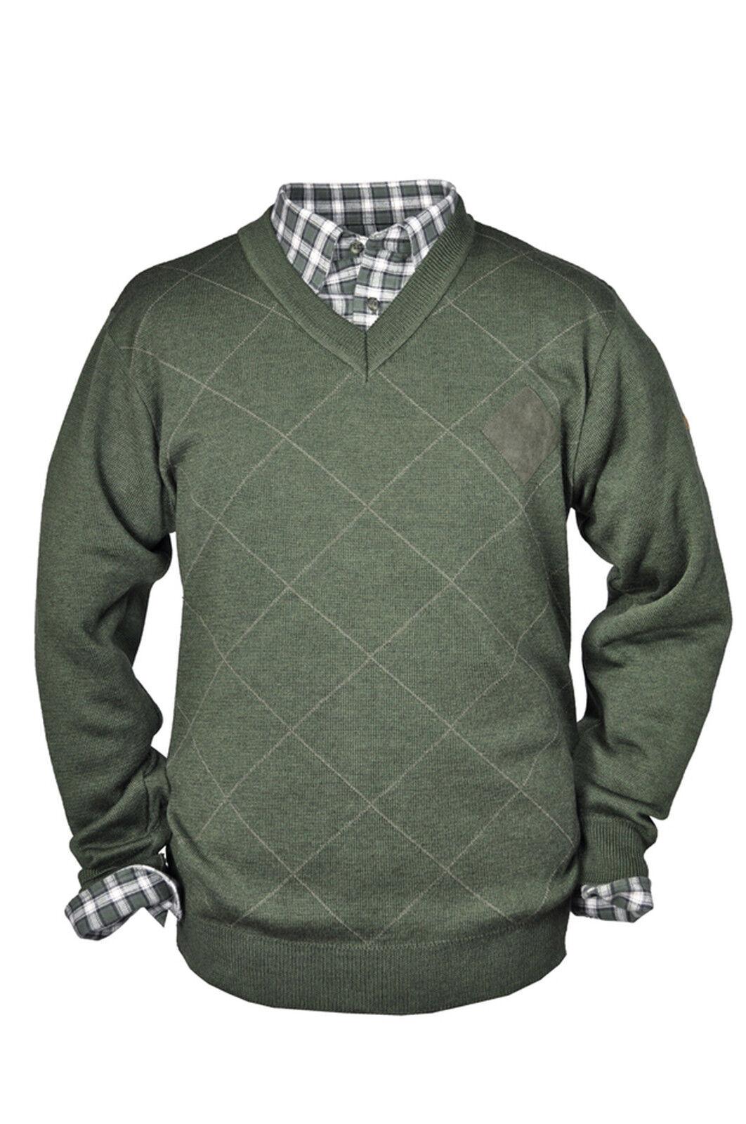 Hubertus suéter señores jersey de punto caza Jersey lana merino suéter verde oliva