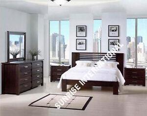 Wooden 5 pc Bedroom Set - 1 King size Double Bed ,2 bedside,1 dresser,1 Frame !