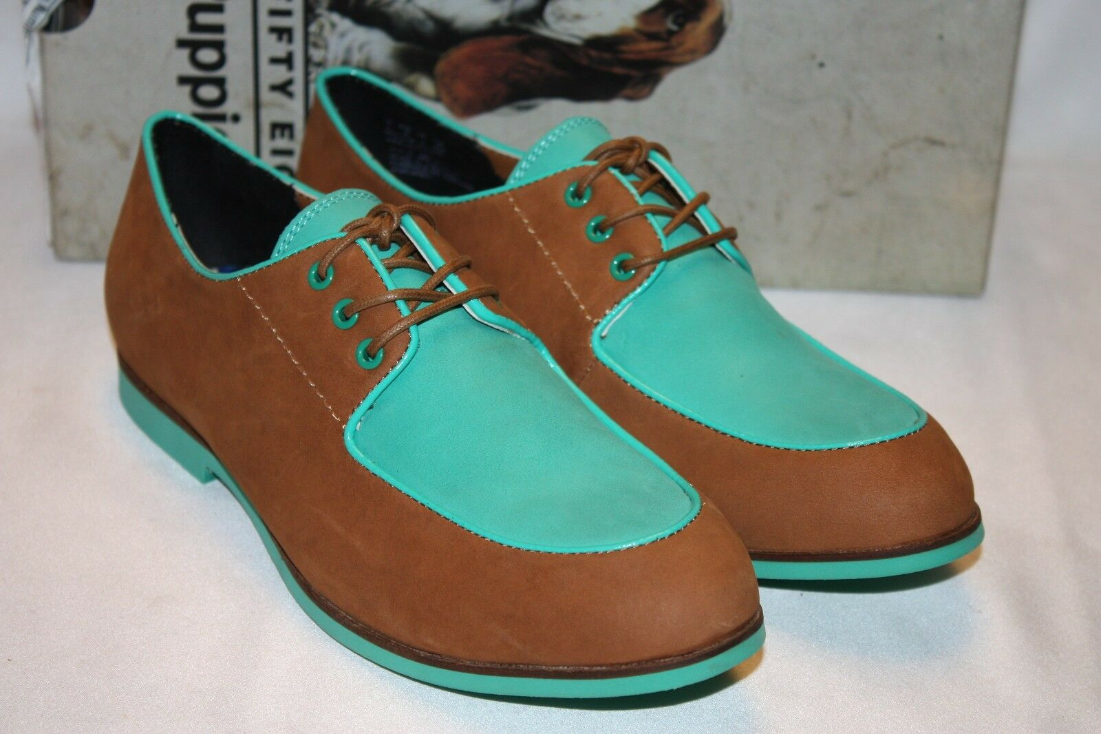 NEW NIB HUSH PUPPIES Tan Turquoise GRAHAM BLUCHER Two Tone Lace Up Oxford Loafer
