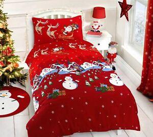 Copripiumino Natalizio Singolo.Natale Neve Villaggio Babbo Renna Rosso Misto Cotone Singolo