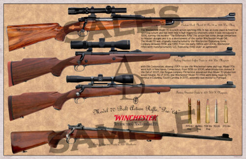 Winchester Mod.70 Pre-64 Bolt Action Rifle Poster 11 x 17