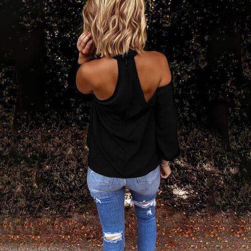 Elimiiya Long Sleeve Shirt Women Fashion Blouse Halter Solid Casual Off Shoulder