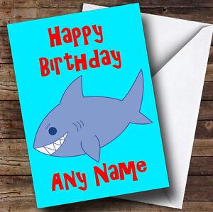 Shark cartoon personalised birthday greetings card ebay image is loading shark cartoon personalised birthday greetings card bookmarktalkfo Gallery