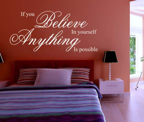 Hand Carving BELIEVE IN YOURSELF Living//Bed Room Wall ART Sticker UK RUI141