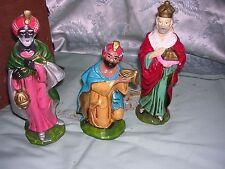 "#QQ 3 Vintage Wisemen Large Scale Hollow Handpainted Christmas Nativity 9"""