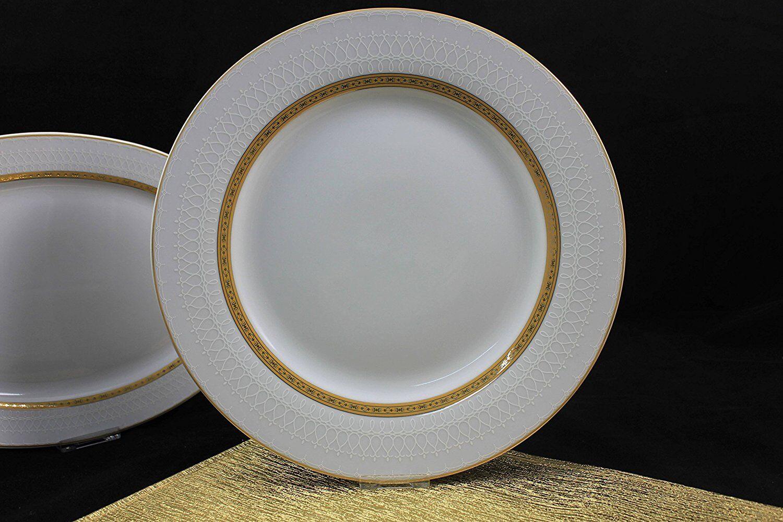6er Set Flache Teller mit Golddekor Essteller Menüteller Ø 28cm Victoria TK-990 | Kostengünstiger