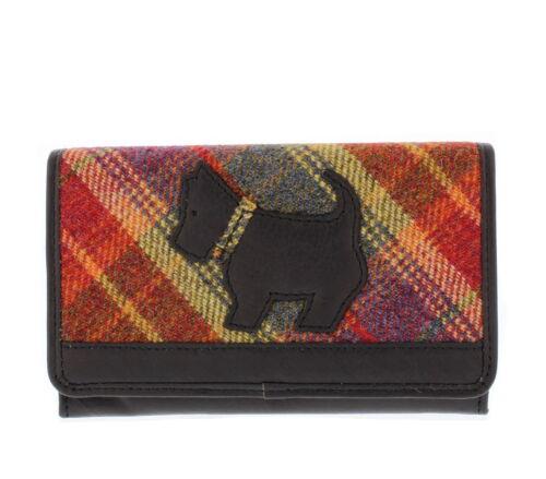 Leather Guild Scottie Dog BORSETTA IN PELLE /& Tweed Nero o Marrone in scatola regalo