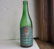 SARATOGA HATHORN MINERAL WATER GREEN BOTTLE W/ ORIGINAL PAPER LABEL SARATOGA SPA