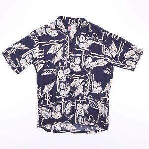 Vintage-HILO-HATTIE-Made-In-Hawaii-Blue-Short-Sleeve-Shirt-Men-039-s-Size-Medium