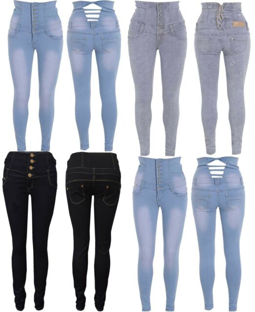 DENIM HIGH WAISTED JEANS Womens SKINNY Jeans Ladies Blue Pants Size 8 10 12 14
