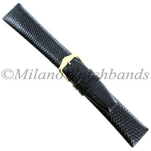 19mm-Gilden-Black-Luxury-Genuine-Lizard-Heavy-Pad-Unstitched-Mens-Watch-Band-Reg