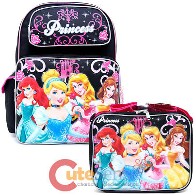 "Disney Frozen Elsa 14/"" Medium School Backpack Lunch Bag Black Pink 2pc Set"