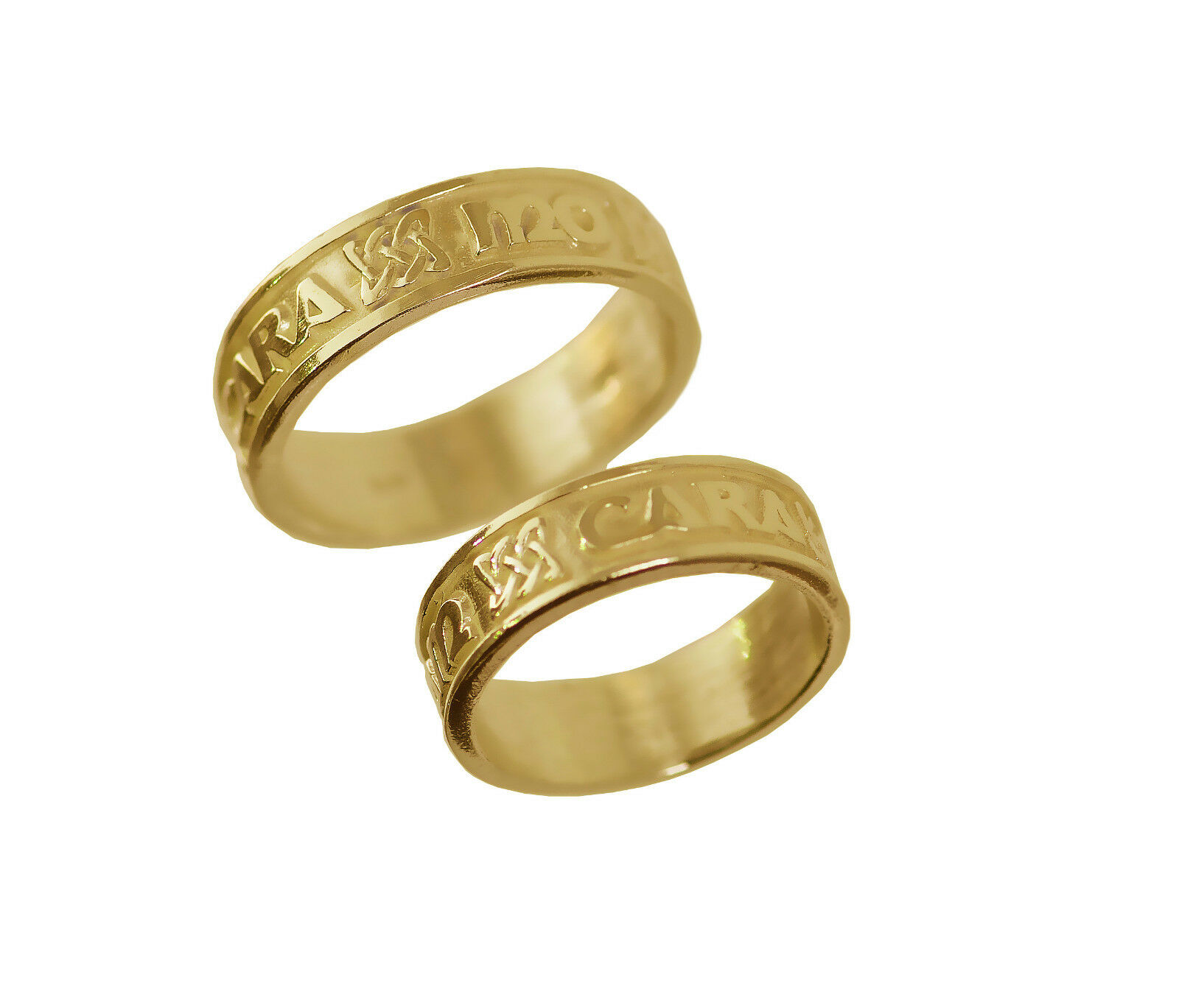 My Soul mate 24kt gold plated Celtic Infinity knot ring His and Hers Jewelry set