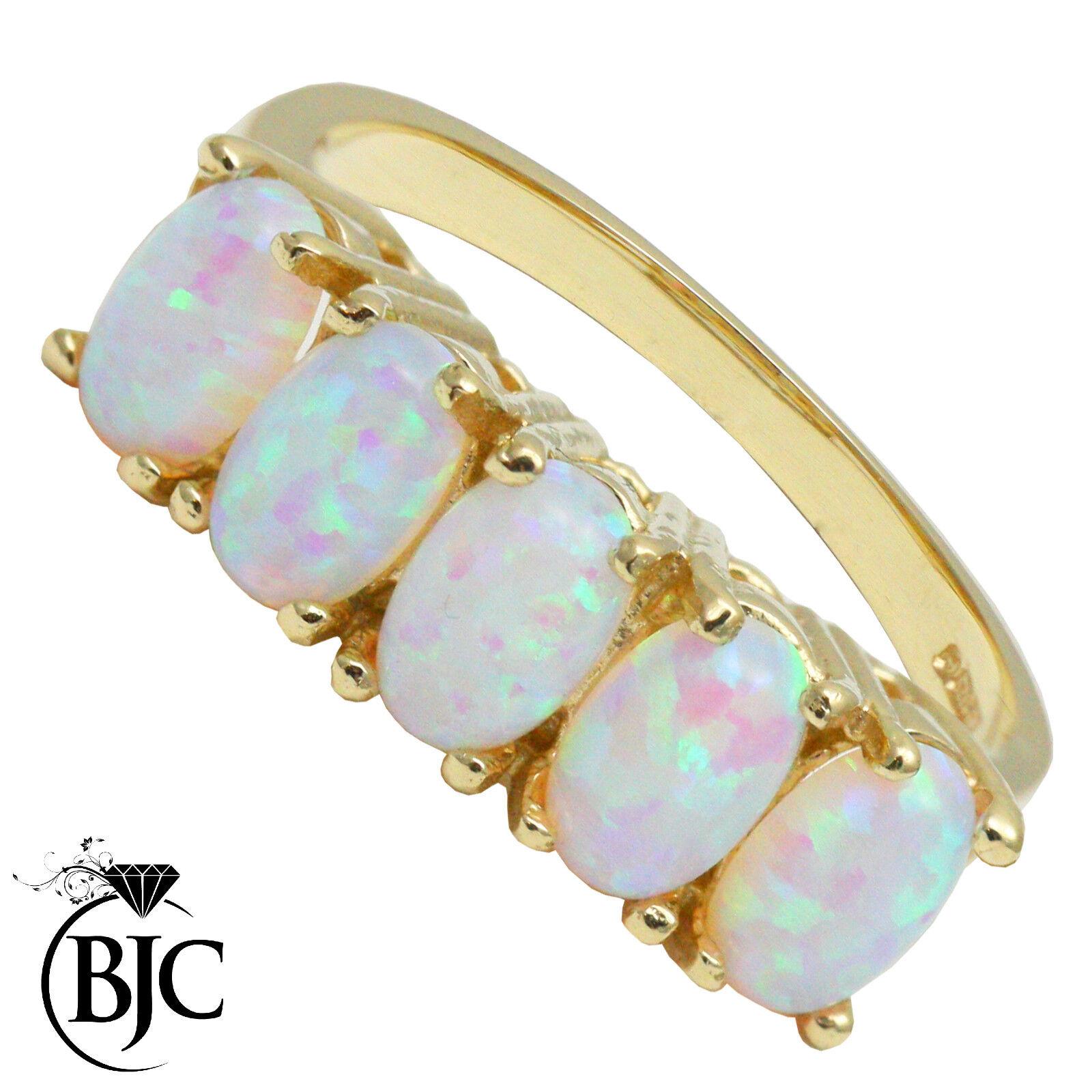 Bjc 9 Karat yellowgold Halbe Ewigkeit Opal 5 Stein der Größe n Kleid Haufen Ring
