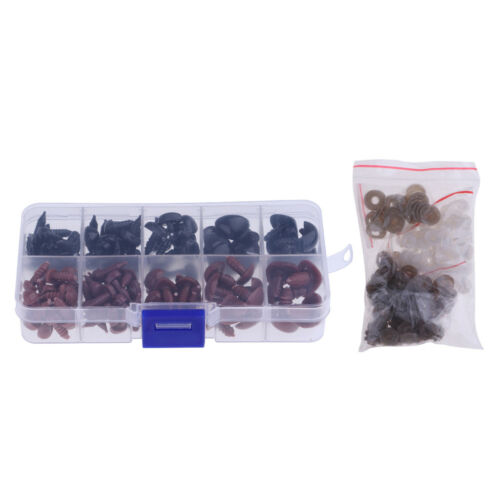 130 Pcs Plastic Safety Noses for Bear Animals Dolls Making Black & Brown