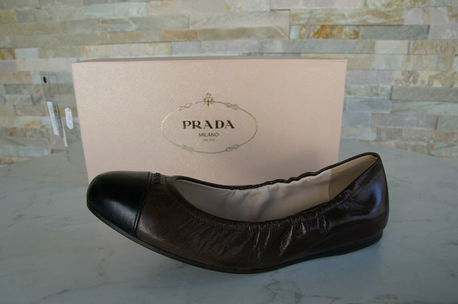 PRADA Gr 37,5 37,5 37,5 Ballerinas Slipper Schuhe shoes 1F253E schwarzbraun NEU 69a061