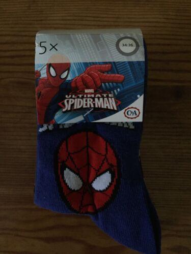 Size 2-2.5 US Marvel Spider-Man Kids Socks 5 Pack