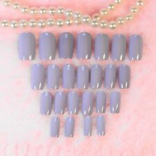 Taro color Nail Art Full Tips Curve Shiny Flat Lady False Nails Z225