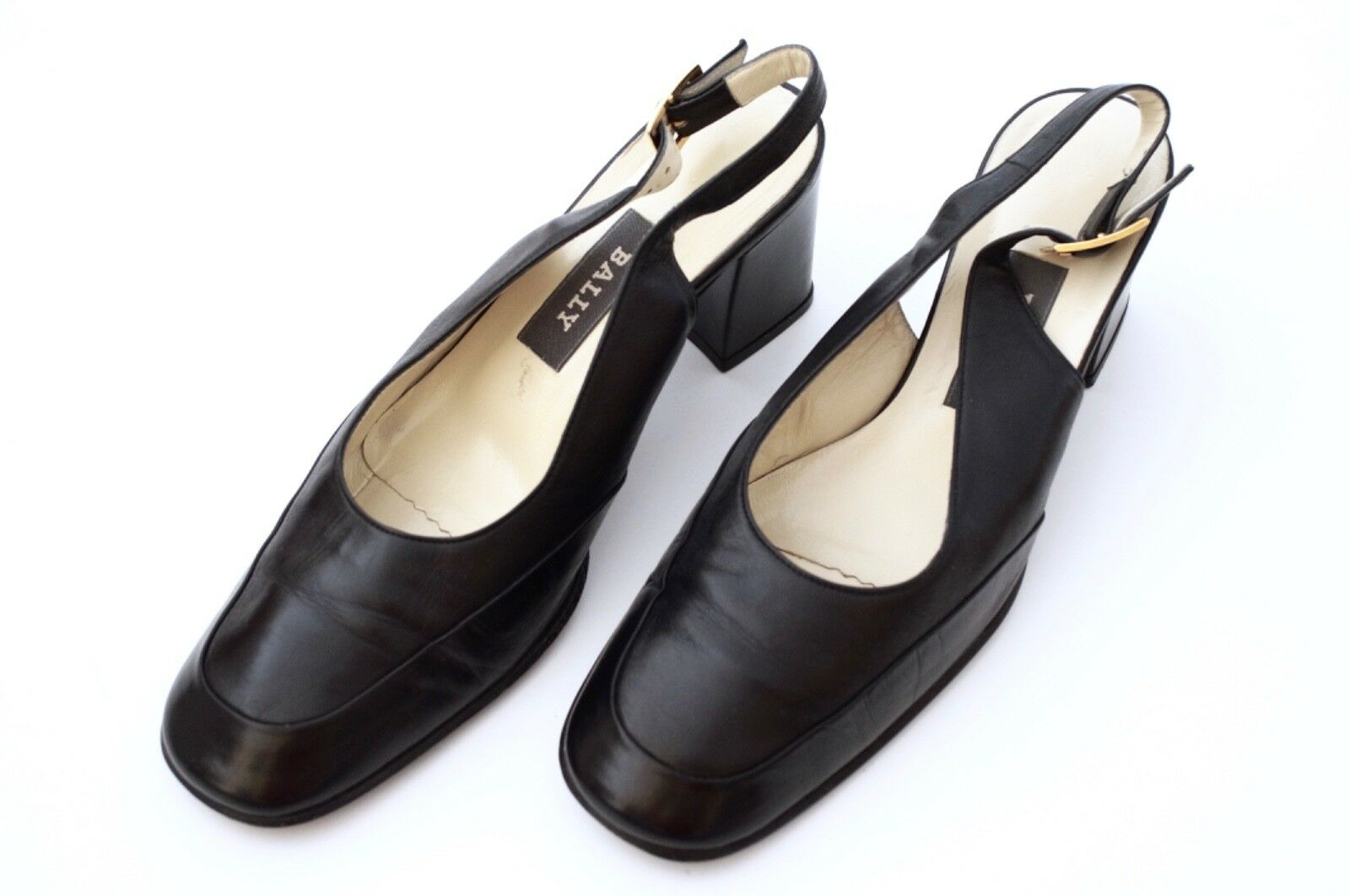 BALLY femmes LEATHER SLINGBACKS PUMPS SANDALS Taille 7 noir chaussures TAHITI ITALY