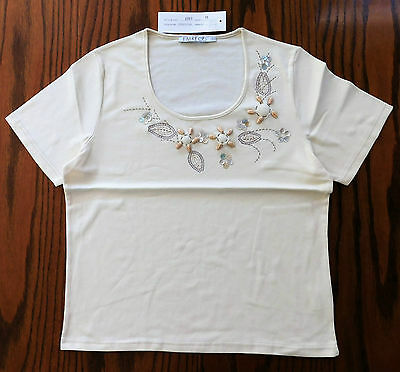 Ladies cotton top Emreco mother of pearl buttons beads T-shirt size 16 New