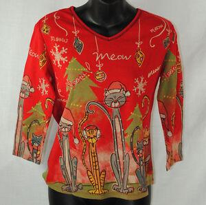 kat hals rode JessJane ornamenten S Kitty kerstv maat kristallen topshirt zMVSqUGp