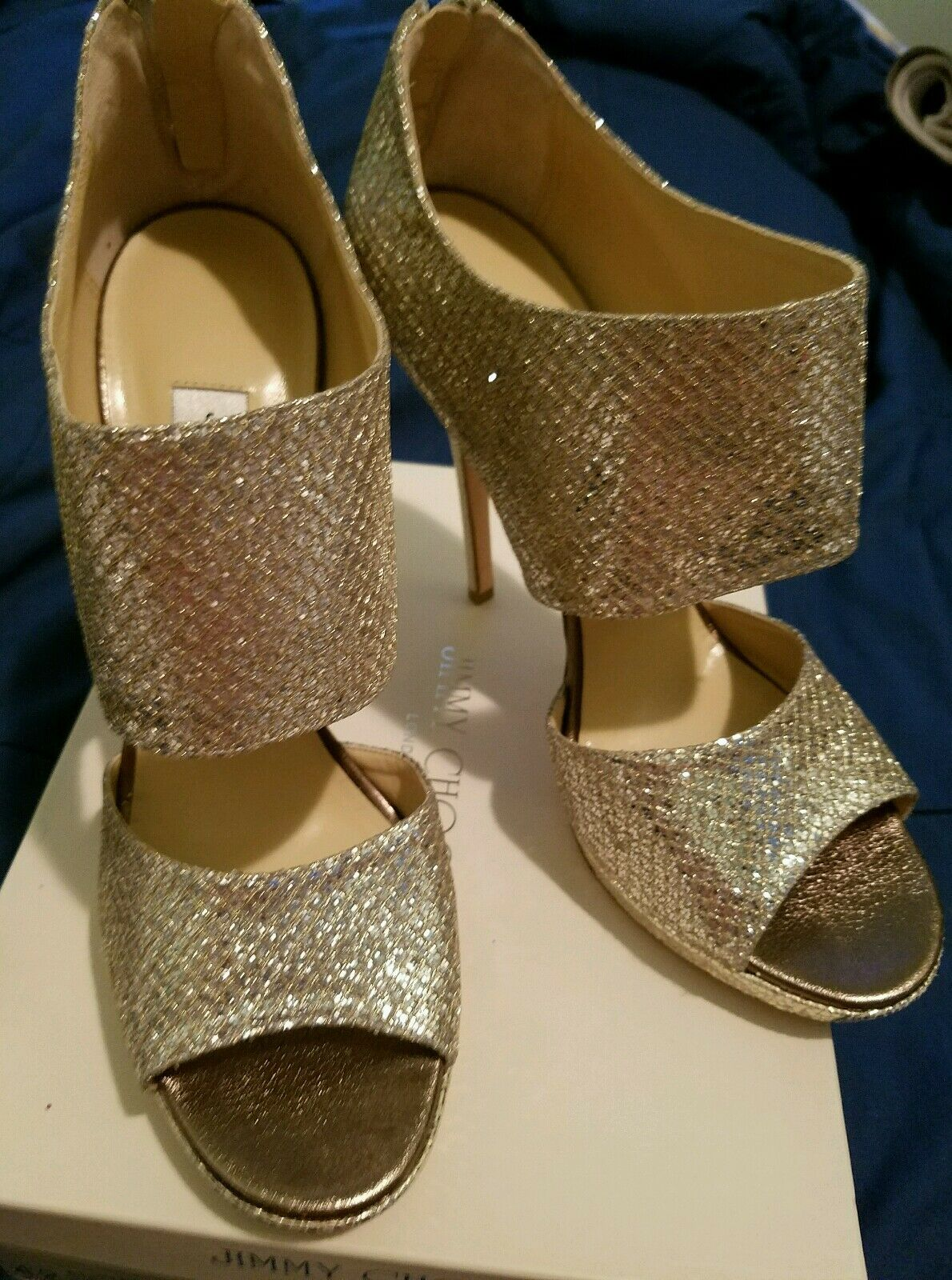 Jimmy Choo Private in Champagne Glitter 42 NEW NEW NEW 43a0bb