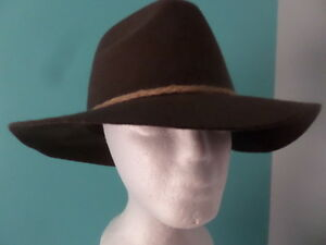 cc8f5d787f528d D&Y Ladies OS Wide Brim Floppy Wool Hat Brown w/Braded Rope Ribbon ...