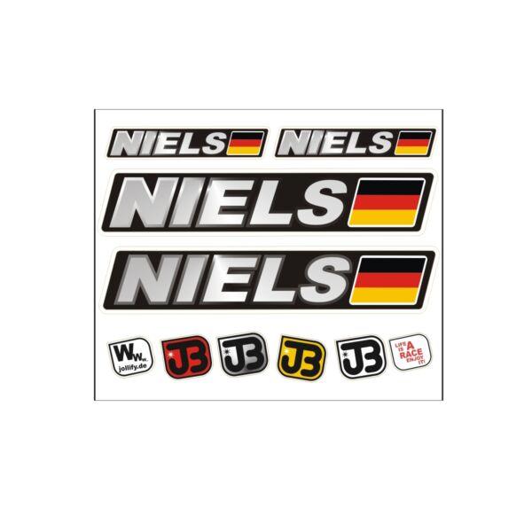 """niels"" Auto Fahrrad Motorrad Kart Helm Fahrername Aufkleber Sticker Flagge"
