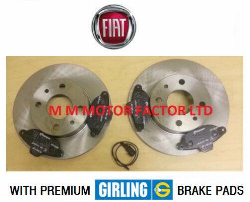 2007/> Premium Girling Pads /& Wear Indicator Front Brake Discs Fiat 500 1.2