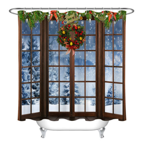 Rustic Wood Window Xmas Wreath Snow Fir Trees Shower Curtain Set Bathroom Decor