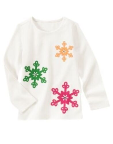 GYMBOREE CHEERY ALL THE WAY IVORY SNOWFLAKE GEM TEE 3 4 5 6 7 NWT